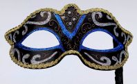 Blue, Gold and Black Mask on Stick